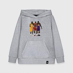 Толстовка детская хлопковая Kobe, Michael, LeBron цвета меланж — фото 1