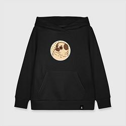 Толстовка детская хлопковая Мечта мопса цвета черный — фото 1