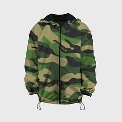Куртка с капюшоном детская Камуфляж: хаки/зеленый цвета 3D-черный — фото 1