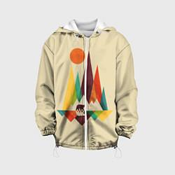 Детская 3D-куртка с капюшоном с принтом Медведь в горах, цвет: 3D-белый, артикул: 10113449005458 — фото 1