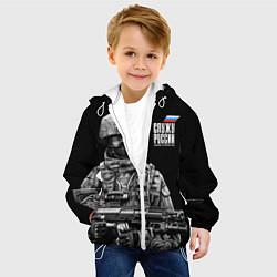Куртка с капюшоном детская Служу России цвета 3D-белый — фото 2