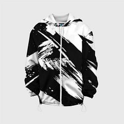 Детская 3D-куртка с капюшоном с принтом Чёрно-белый, цвет: 3D-белый, артикул: 10128914605458 — фото 1