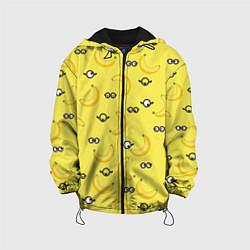 Детская 3D-куртка с капюшоном с принтом Банановые миньоны, цвет: 3D-черный, артикул: 10131641605458 — фото 1
