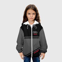 Детская 3D-куртка с капюшоном с принтом Audi: Crey & Black, цвет: 3D-белый, артикул: 10144288505458 — фото 2