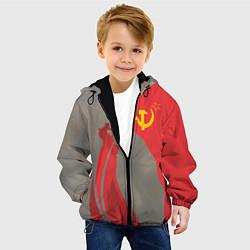 Детская 3D-куртка с капюшоном с принтом Флаг над Рейхстагом, цвет: 3D-черный, артикул: 10149609105458 — фото 2