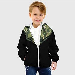 Детская 3D-куртка с капюшоном с принтом Stone Island: Black & Khaki, цвет: 3D-белый, артикул: 10166650705458 — фото 2