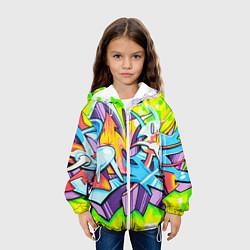 Детская 3D-куртка с капюшоном с принтом Неоновая кислота, цвет: 3D-белый, артикул: 10173631705458 — фото 2
