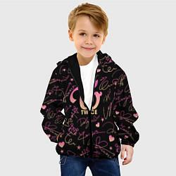 Детская 3D-куртка с капюшоном с принтом TWICE АВТОГРАФЫ, цвет: 3D-черный, артикул: 10192883905458 — фото 2