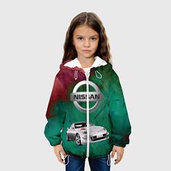 Детская 3D-куртка с капюшоном с принтом Нисан, цвет: 3D-белый, артикул: 10203447705458 — фото 2