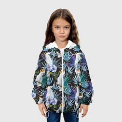 Детская 3D-куртка с капюшоном с принтом Тропические попугаи, цвет: 3D-белый, артикул: 10065275305458 — фото 2