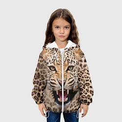 Куртка с капюшоном детская Взгляд леопарда цвета 3D-белый — фото 2
