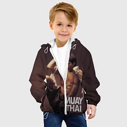 Куртка с капюшоном детская Муай тай боец цвета 3D-белый — фото 2