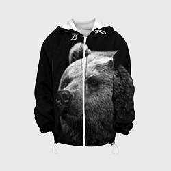 Детская 3D-куртка с капюшоном с принтом Черно-белый медведь, цвет: 3D-белый, артикул: 10083974305458 — фото 1