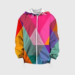 Куртка с капюшоном детская Разноцветные полигоны цвета 3D-белый — фото 1