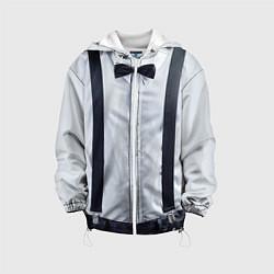 Детская 3D-куртка с капюшоном с принтом Рубашка с подтяжками, цвет: 3D-белый, артикул: 10085237605458 — фото 1