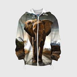 Куртка с капюшоном детская Дикий слон цвета 3D-белый — фото 1