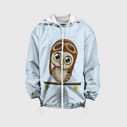 Детская 3D-куртка с капюшоном с принтом Сова пилот, цвет: 3D-белый, артикул: 10086920905458 — фото 1
