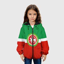 Куртка с капюшоном детская Татарстан: флаг цвета 3D-черный — фото 2