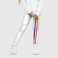 Леггинсы для девочки Франция: лента с гербом цвета 3D-принт — фото 2