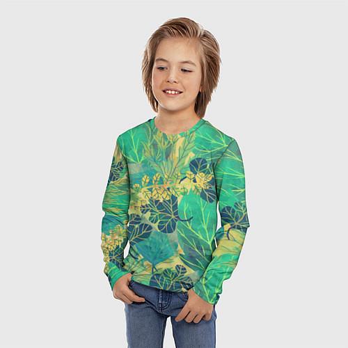 Детский лонгслив Узор из листьев / 3D – фото 3