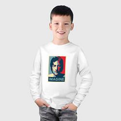 Лонгслив хлопковый детский Lennon Imagine цвета белый — фото 2