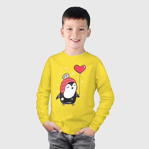 Детский лонгслив Пингвин с шариком / Желтый – фото 3