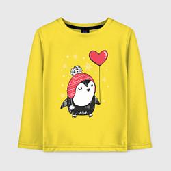 Лонгслив хлопковый детский Пингвин с шариком цвета желтый — фото 1