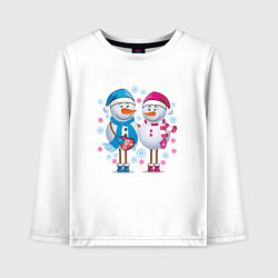 Лонгслив хлопковый детский Влюбленные снеговики цвета белый — фото 1