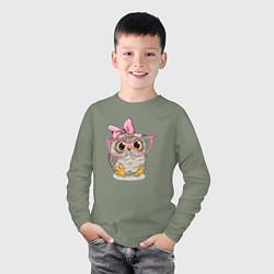 Лонгслив хлопковый детский Совушка цвета авокадо — фото 2