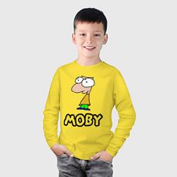 Лонгслив хлопковый детский Moby цвета желтый — фото 2