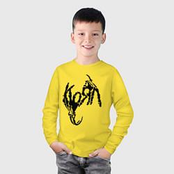 Лонгслив хлопковый детский Korn bones цвета желтый — фото 2
