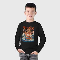Лонгслив хлопковый детский Great Ramen: Kanagawa цвета черный — фото 2