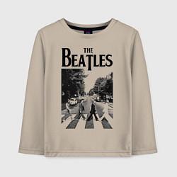 Лонгслив хлопковый детский The Beatles: Mono Abbey Road цвета миндальный — фото 1