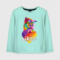 Лонгслив хлопковый детский Likee LIKE Video цвета мятный — фото 1