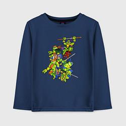 Лонгслив хлопковый детский Черепашки-ниндзя цвета тёмно-синий — фото 1