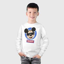 Детский хлопковый лонгслив с принтом Микки, цвет: белый, артикул: 10245301105949 — фото 2