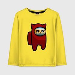 Лонгслив хлопковый детский Among us Cat цвета желтый — фото 1