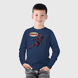 Лонгслив хлопковый детский Deadpool цвета тёмно-синий — фото 2