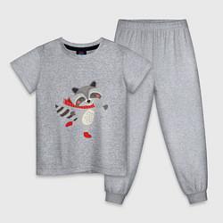 Пижама хлопковая детская Новогодний енот цвета меланж — фото 1