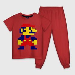 Пижама хлопковая детская Pixel Mario цвета красный — фото 1
