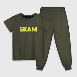 Пижама хлопковая детская Skam цвета меланж-хаки — фото 1