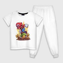 Пижама хлопковая детская Mario Rage цвета белый — фото 1