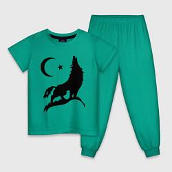 Пижама хлопковая детская Кавказский волк цвета зеленый — фото 1