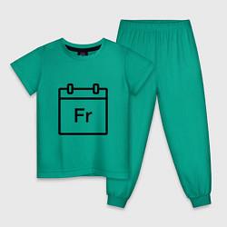 Пижама хлопковая детская Фублока Fr цвета зеленый — фото 1
