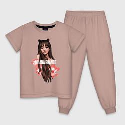 Пижама хлопковая детская Ariana Grande: Flowers цвета пыльно-розовый — фото 1
