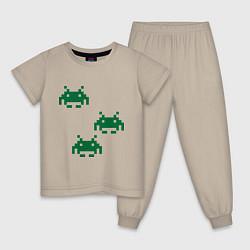 Пижама хлопковая детская Space invaders 8 bit цвета миндальный — фото 1