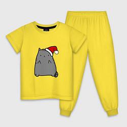 Пижама хлопковая детская New Year Kitty FCK цвета желтый — фото 1