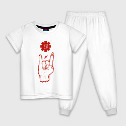Пижама хлопковая детская RHCP Rock цвета белый — фото 1