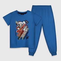 Пижама хлопковая детская Юрий Гагарин: поехали цвета синий — фото 1