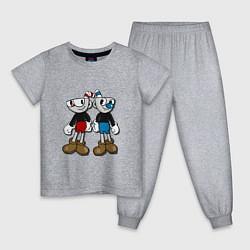 Пижама хлопковая детская Cuphead: Mugman Friends цвета меланж — фото 1
